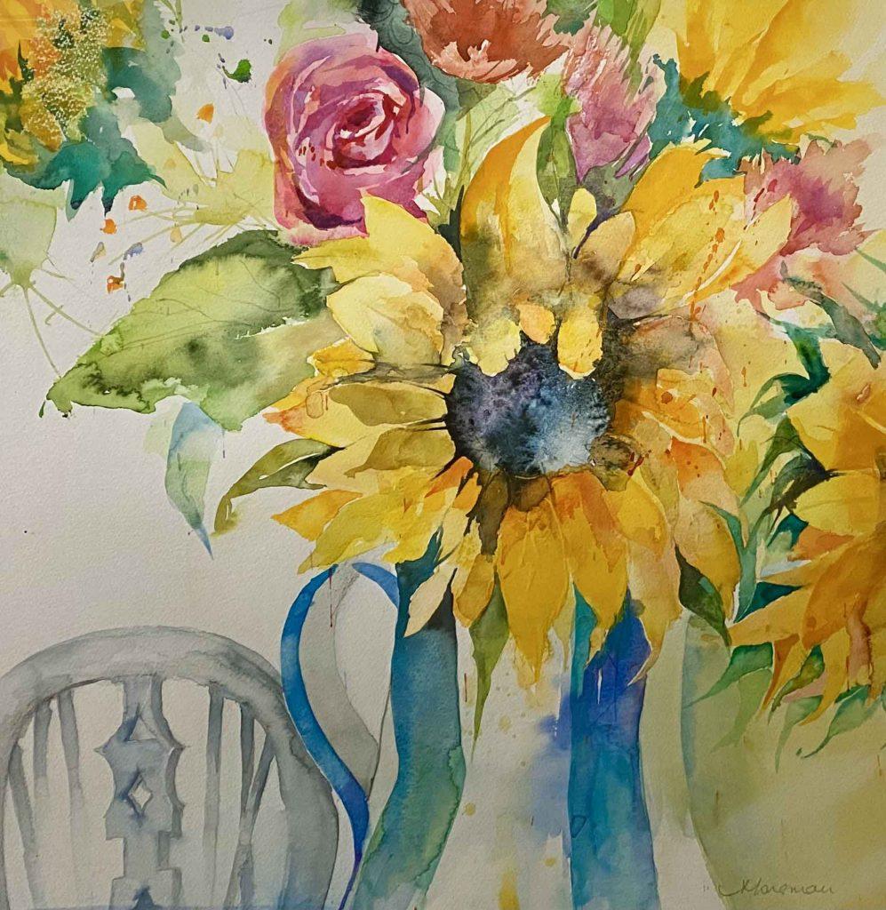 Val Morsman - Sunflower and Jug - Watercolour