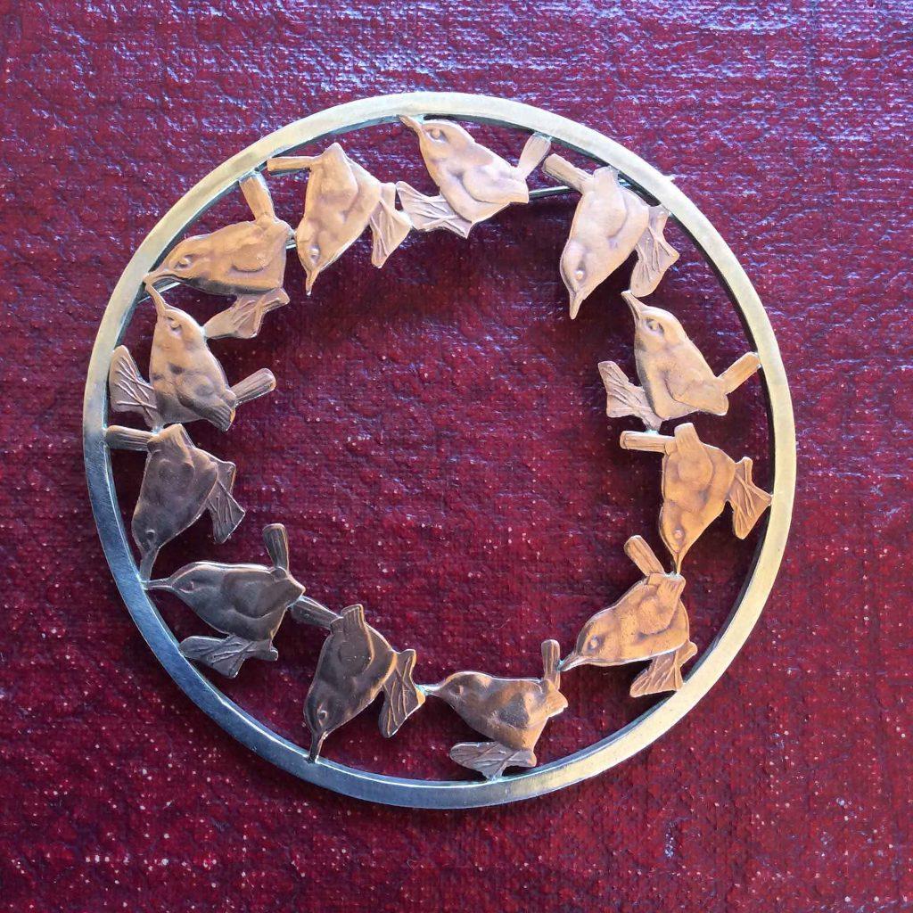 Rachel Eardley - Wren Brooch made from Silver Coin