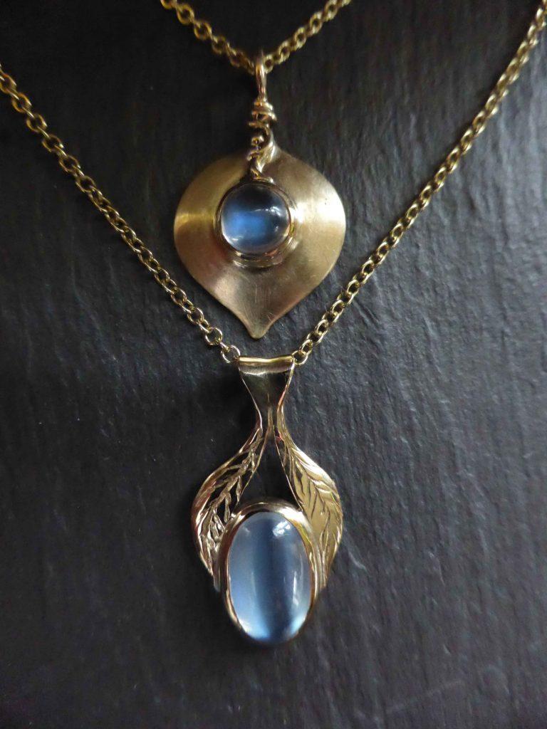Stephanie Gilbert - Gold pendants with Sri Lankan Blue Moonstones