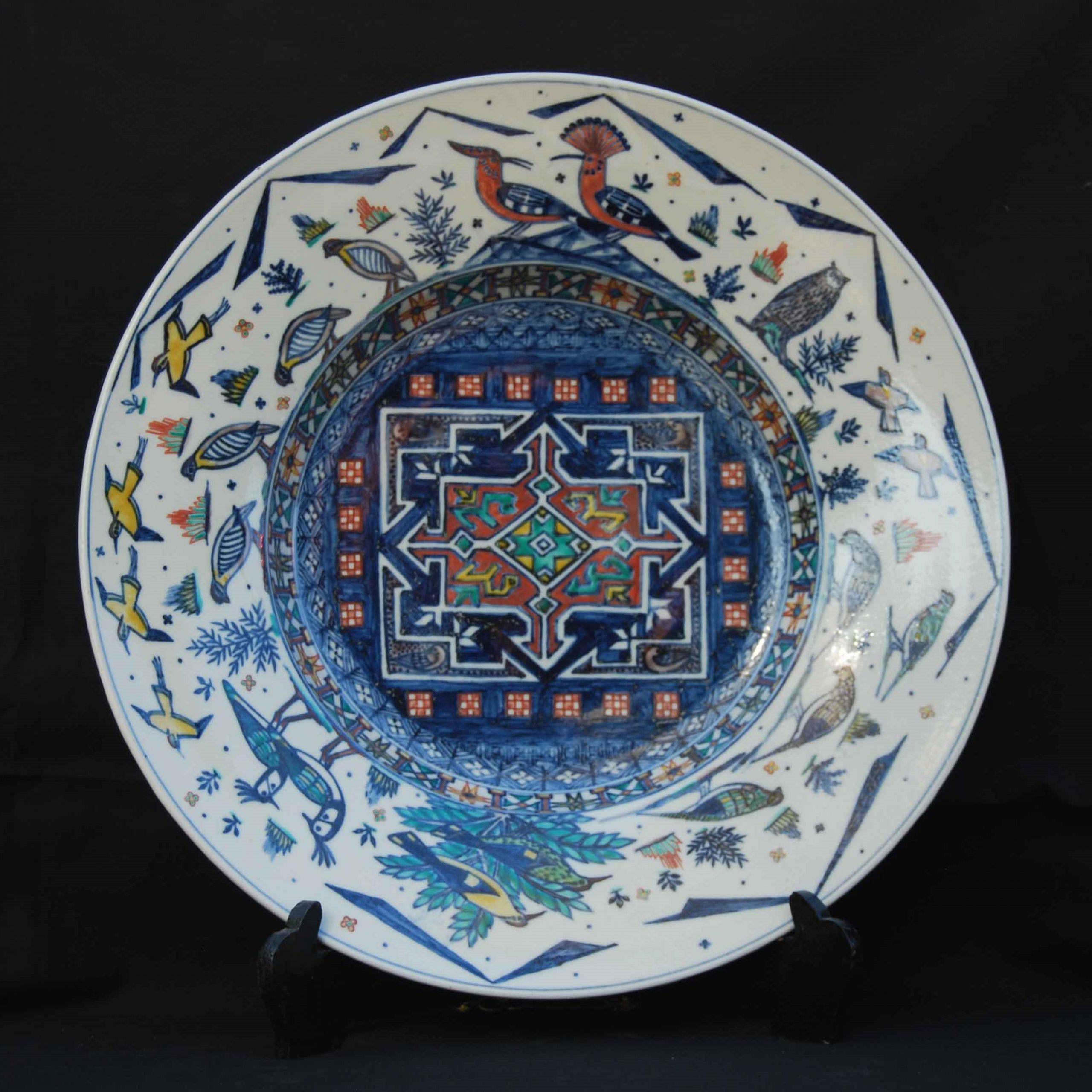 Russell Coates - Underglaze blue enamelled porcelain dish