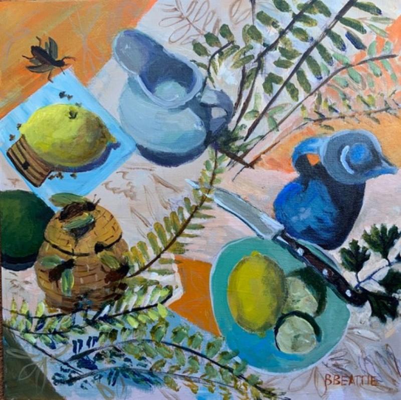 Bridget Beattie - Still Life with Honey Pot - Acrylic